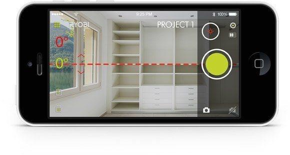 Ryobi™ phone works™ kreuzlinienlaser werkzeug schlitt präzision